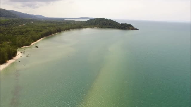 Bird's Eye View of the Coastline and Blue Green Sea with the Ripple, Gulf of Thailand video