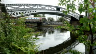 Birmingham canal bridge and train. video