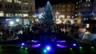 Birmingham city centre Christmas tree and lights. video