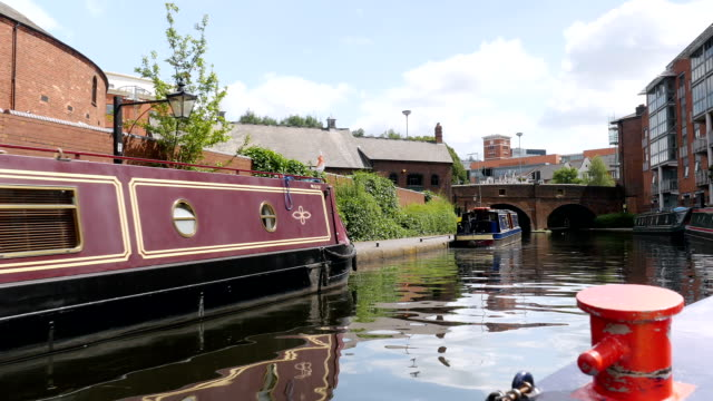 Birmingham city centre, moored canal boats. video
