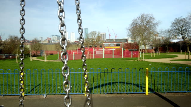 Birmingham city centre seen from a playground. Camera move. video