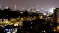 Birmingham, England City Centre Skyline at night zoom in. video