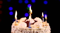 Birthday cake with burning candles video