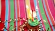 Birthday cupcake with sparkler and candle video
