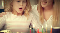 Birthday girl making a wish and blowing out the candles video