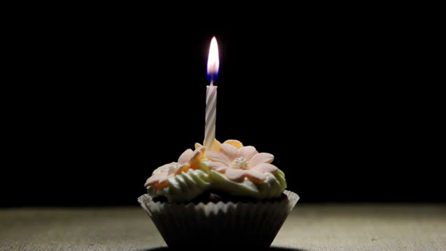 Birthday muffin with small blow off Candle video