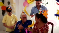 Birthday Party For Happy Old Man In Retirement Home video