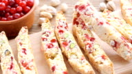 Biscotti with pistachios and cranberries. video