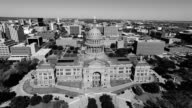 Black and white Aerial View Looking Down on Texas State Capitol Building Sunny Day in Austin , Texas video