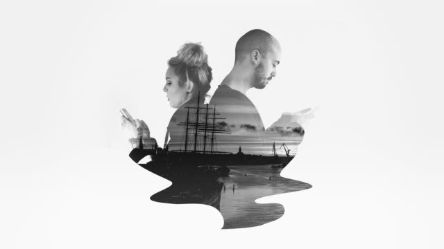 Black and White Double Exposure Couple video