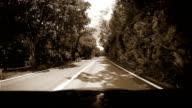 Black and White Footage: Mountain road inside car view near Rabac, Croatia video