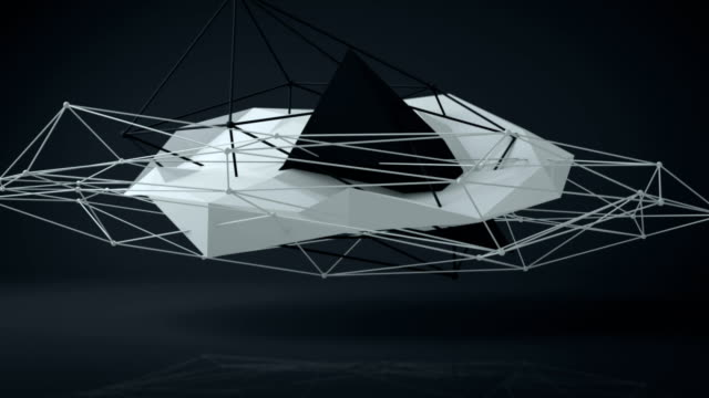 Black and white futuristic construction. 3D Render Loopable video