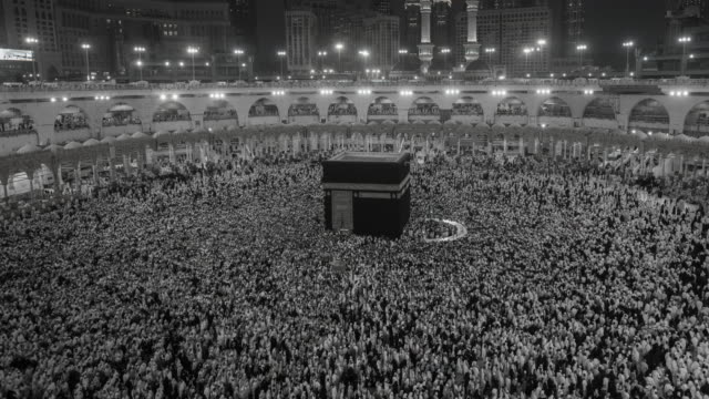 black and white Group of Islamic during Prayer in mecca video
