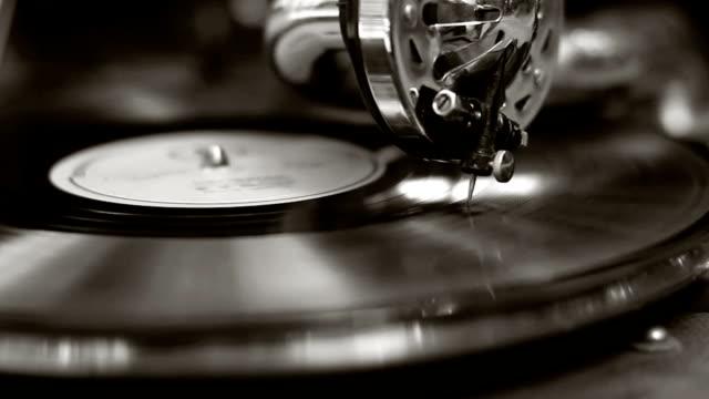 Black and white old movie retro gramophone. Vintage turntable video