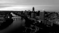 black and white ominous monochrome Cityscape Dramatic Sunset Aerial Drone View Austin Texas video