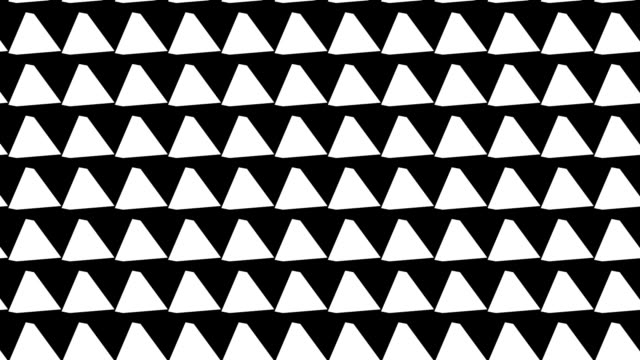 Black and white pattern of rotating pyramids video