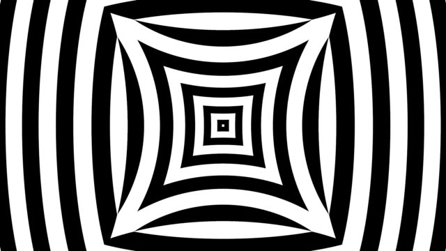 Black and white pinched squares and bulging squares with hypnotic lines video