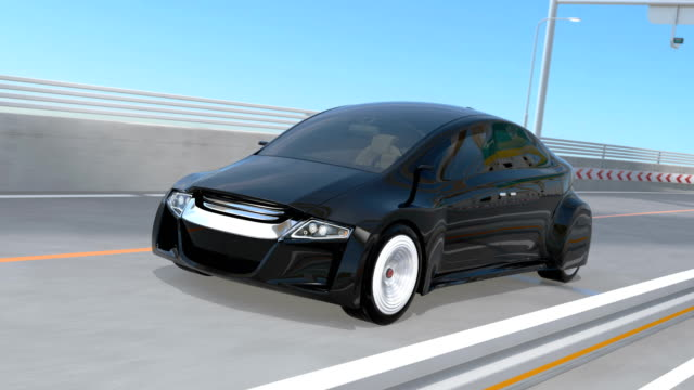 Black autonomous car on the highway video