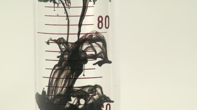 Black  droplets in test tube. video