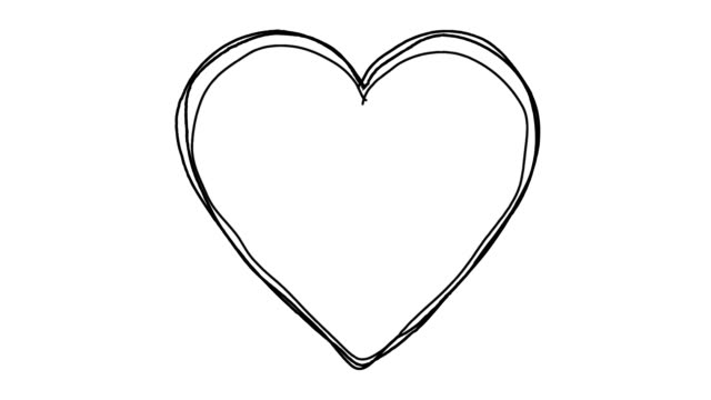 Black Heart shape line art sequence on white video