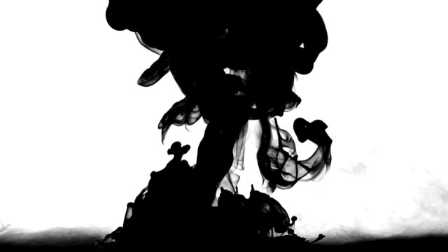 Black Ink Drop Explosion On White Background video