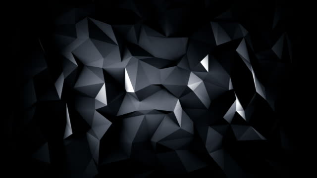 Black low poly 3D surface seamless loop animation video