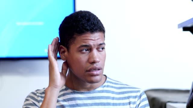 Black Man Listening Secret Carefully video
