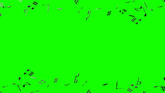 Black Musical Notes On Green Chroma Key video