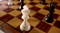 Black queen checkmates white king in chess game. video