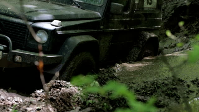 Black SUV got stuck in the mud in the forest, off-road video