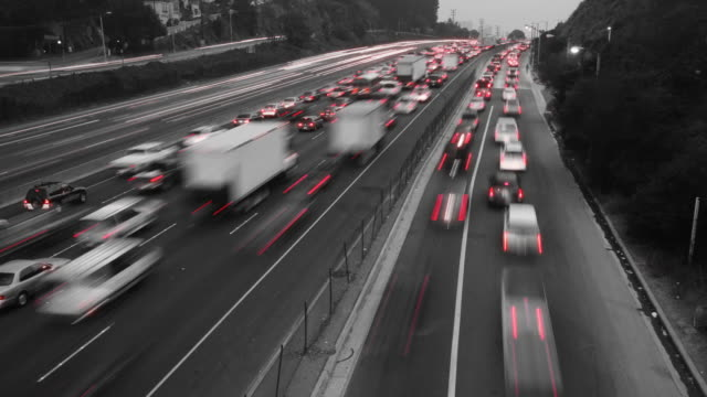 Black & White Traffic Time Lapse Zoom video