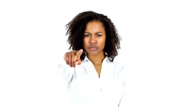 Black Woman Pointing to Camera, white Background video