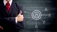 Blackboard businessman and social networking video