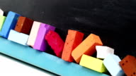Blackboard with colorful chalk video
