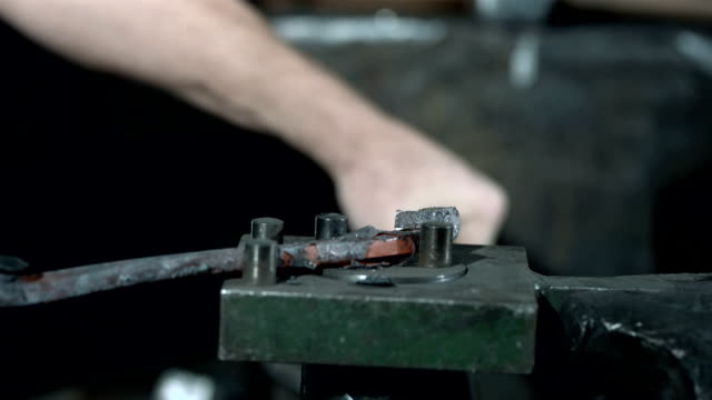 HD DOLLY: Blacksmith Making A Horseshoe video