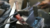 Blacksmith shaping a traditional Japanese cooking knife video