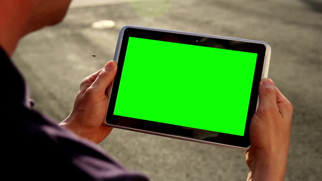 Blank Green Screen Tablet PC video