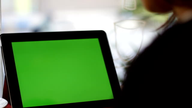 blank green screen tablet slide close up with hand video