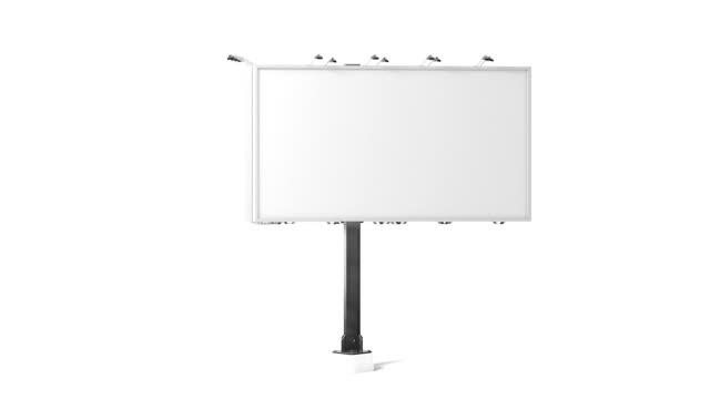 Blank white banner mockup, city three sides billboard, looped rotation video
