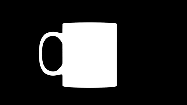 Blank white coffee mug mock up, looped rotation, clipping mask video