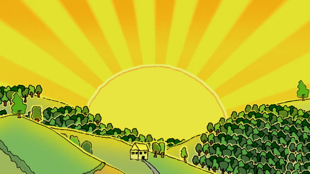 Blazing sun over a doodled rural landscape, loopable video