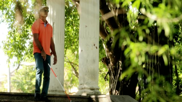 Blind Man Walking Visually Impaired People And Everyday Life video