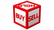 Block with words buy, hold, sale  turn around. video