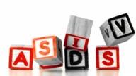 Blocks spelling HIV falling on AIDS video