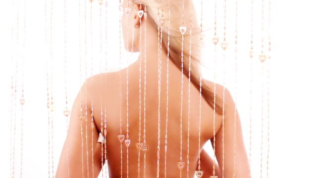 Blond girl with bare back video