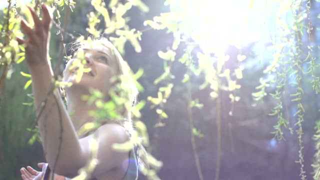 blond women outdoors in spring video