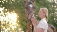 SLO MO Blonde female stroking bay horse on nose video