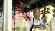 Blonde girl working in flowers shop with roses and gerbera video