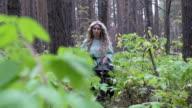 Blonde walks in the woods video