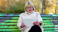 Blonde woman with Tablet PC sits on the bench and talks on Skype video